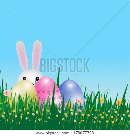 Easter background. Template card with eggs grass flowers and bunny. Vector illustration.