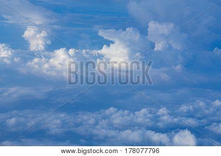 White clouds over blue sky natural landscape background