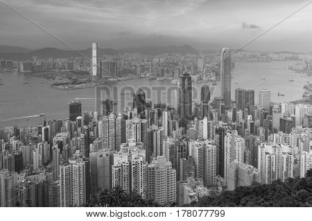Black and White Hong Kong city aerial view cityscape downtown background