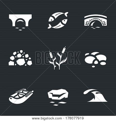 Bridge, fish, stones, reeds, pebbles, boat, ice floe, wave.