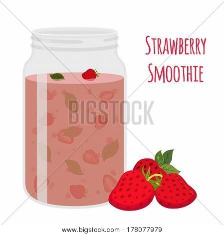 Strawberry smoothie. Vegetarian organic detox drink. Healthy nutrition, cocktail. Cartoon flat style.