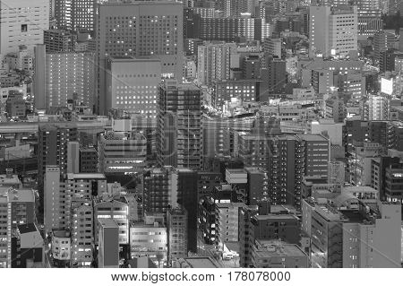 Black and White City downtown building aerial view close up cityscape background