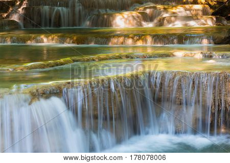 Deep forest natural waterfall close up natural landscape background