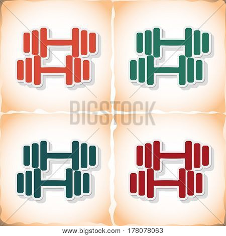 Athletic dumbbell. Flat sticker with shadow on old paper. Vector illustration