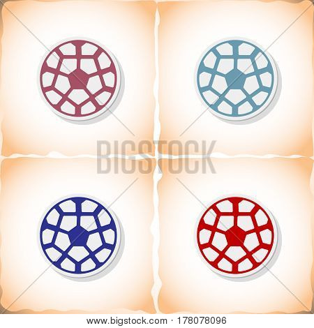 Soccer ball. Flat sticker with shadow on old paper. Vector illustration