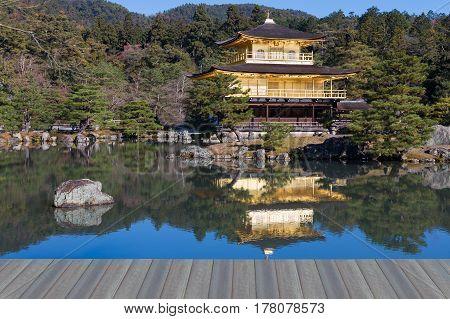 Opening wooden floor Golden Pavilion Miromachi Zen temple.Kinkakuji TemplekyotoJapan.