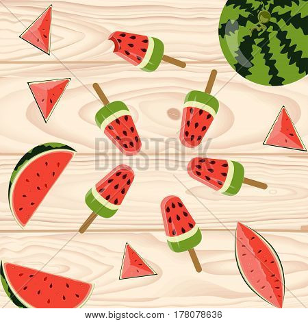 Homemade popsicles with berries and fruits on wooden background. Top view vector illustration eps 10