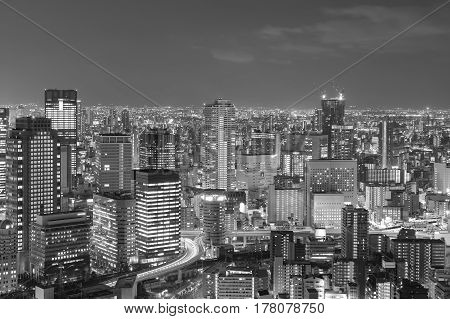 Black and White Office building business downtown Osaka Japan
