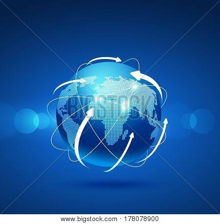 Globe network connection, Digital network background, Internet technology. Vector illustration