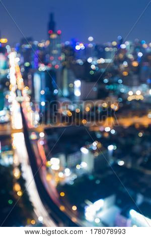 Blurred bokeh city roand light night view abstract background