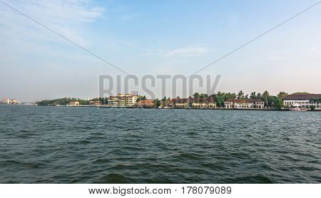 Panoramic View From The Sea On The Waterfront, Cochin,