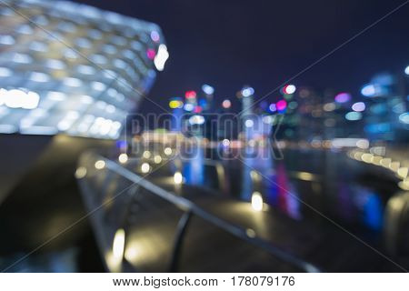 Abstract blurred bokeh light Singapore central business downtown abstract background
