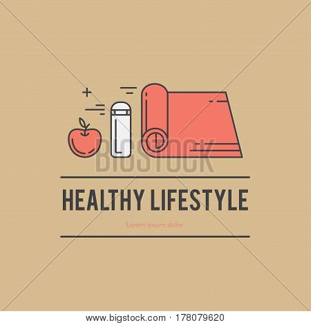 Design concept with thin line icons of healthy living lifestyle, food and fitness training elements. Outline logo template isolated on color background.