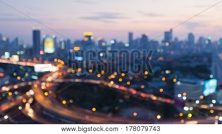 Night blurred bokeh highway light abstrac blurred bokeh city downtown background