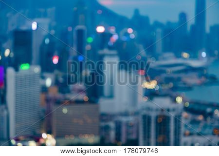 Hong Kong city blurred bokeh light night view abstract background