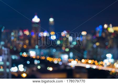 Blurred light city central business downtown abstract background