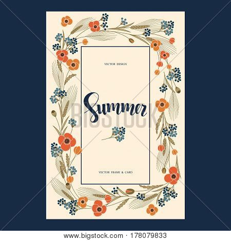 vector retro greeting postcard with colorful field flowers and hand drawn word summer in a square frame