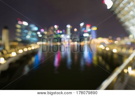 Blurred bokeh light Singapore cityscape downtown business background