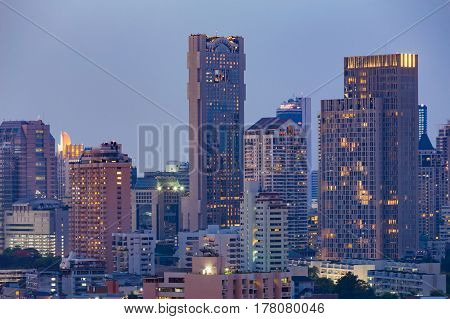 City office building close up night view cityscape downtown background