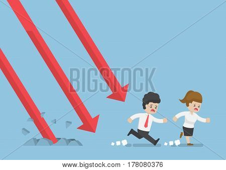 Businessman Run Away From Falling Graph