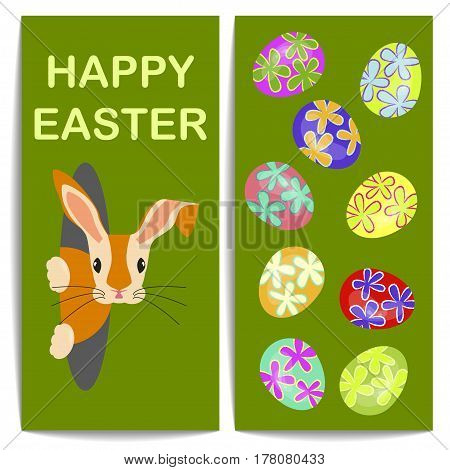 Vertical banners with colorful Easter eggs and bunny. Vector illustration eps 10