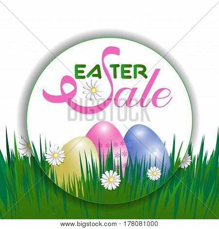 Concept Easter sale poster. Eggs and grass. Vector illustration.