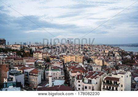 Scenic view with clouds on sunset sky from Galata Tower over Bosporus Beyoglu and Besiktas districts towards Bosporus Bridge in Istanbul Turkey