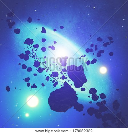 Asteroid, stars and galaxy - 3D render / illustration.