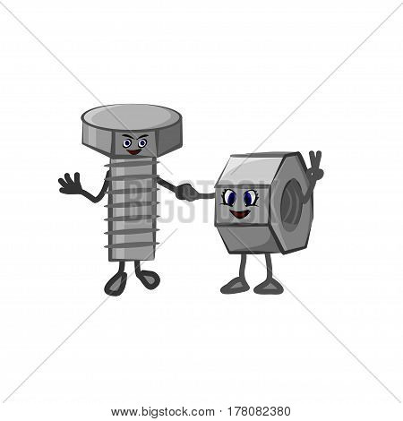 Vector illustration of lovers bolt and nut. Lovely cartoon bolt and nut hold hands on a white background