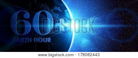 Planet earth with sunrise in space. Earth Hour. Vector illustration