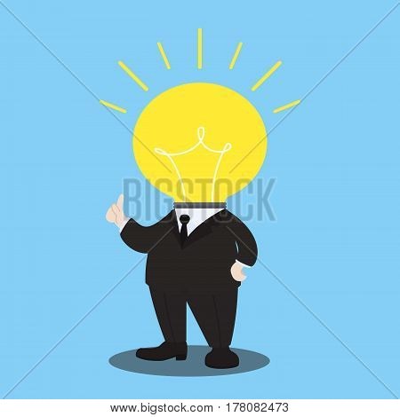 action of have idea, great idea action, little idea man, businessman with light bulb head character, creative idea of businessman, vector illustration