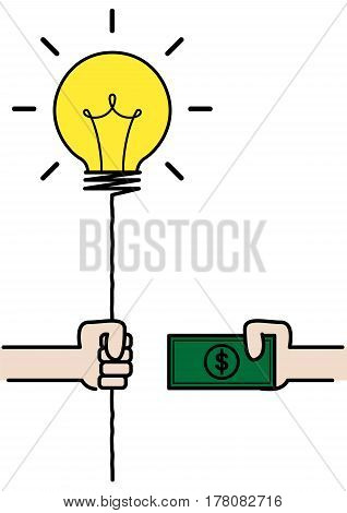 dealing between idea balloon and money, creative business concept, , vector illustration