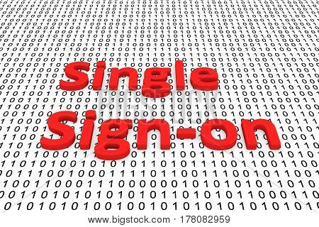 Single sign on in the form of binary code, 3D illustration