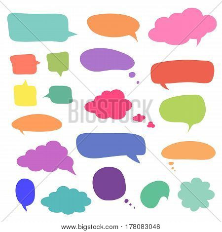 Set of blank colorful speech bubbles and dialog balloons. Vector simple elements for your design