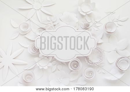 Frame With White Paper Flower