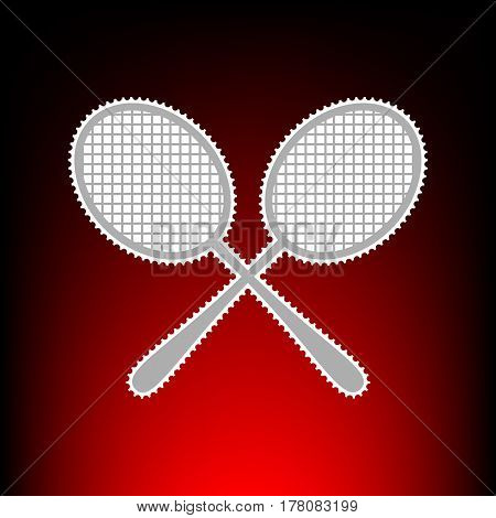 Tennis racquets sign. Postage stamp or old photo style on red-black gradient background.