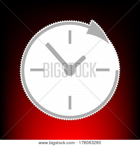 Service and support for customers around the clock and 24 hours. Postage stamp or old photo style on red-black gradient background.