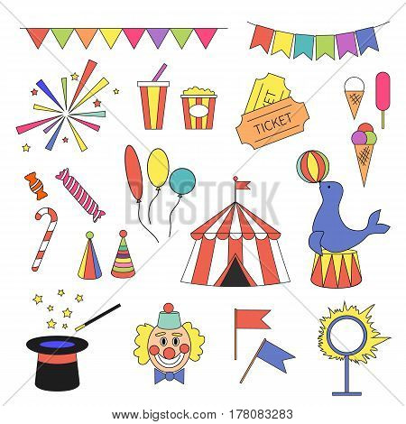 Circus icon set with circus equipment, devices, tent, clown, magic hat, tickets, ice cream, flags, fireworks, candies, balloons. Carnival performance vector illustration in cartoon simple flat style