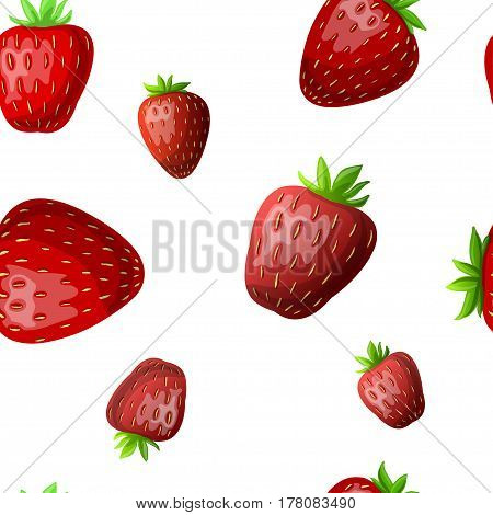 vector strawberry seamless pattern. White background red strawberries