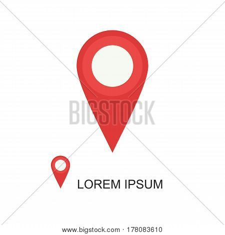 Red Geolocation  Icon On White Background