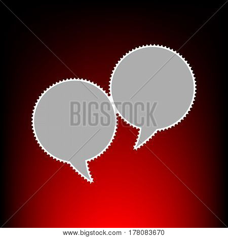 Speech bubble sign. Postage stamp or old photo style on red-black gradient background.