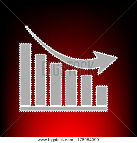 Declining graph sign. Postage stamp or old photo style on red-black gradient background.