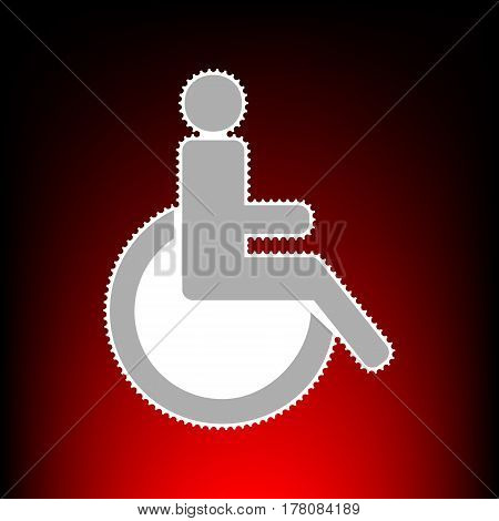 Disabled sign illustration. Postage stamp or old photo style on red-black gradient background.