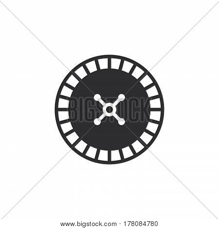 roulette wheel icon vector filled flat sign solid pictogram isolated on white logo illustration