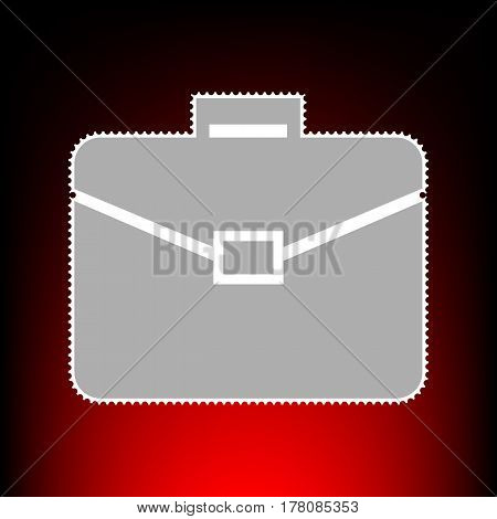 Briefcase sign illustration. Postage stamp or old photo style on red-black gradient background.
