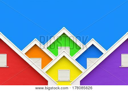 rainbow colorful house wall gable roof and clear blue sky in LGBT home concept