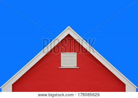 Red house wall gable roof and clear blue sky