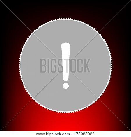 Exclamation mark sign. Postage stamp or old photo style on red-black gradient background.