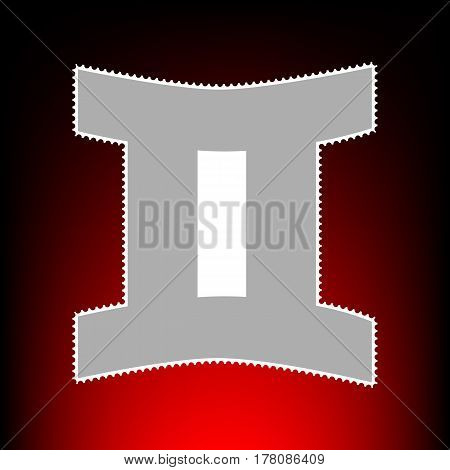 Gemini sign. Postage stamp or old photo style on red-black gradient background.