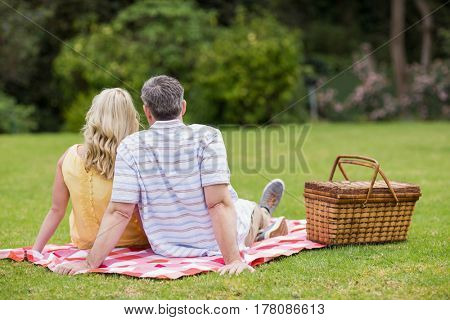 Cute couple having a picnic on the grass